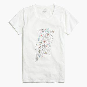 J. CREW Women New York Map Graphic T-shirt | S NWT